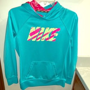 Girls Nike hoodie turquoise green size xl